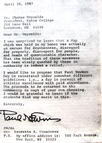 Above is the 1987 letter from actor Paul Newman to then-President T. Hedley Reynolds, as reprinted in a 2001 issue of The Bates Student. Click on the image for a larger version.