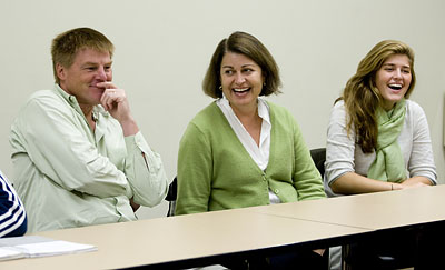 At top, parents Susan and John Wilson share a laugh with daughter Keller '12 (right) of Darien, Conn., during the first-year seminar Ancient Myths, Modern Movies, taught by Associate Professor of Classical and Medieval Studies Lisa Maurizio.