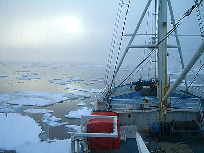 Greg Henkes '08, one of Will Ambrose's thesis students, took this photograph at 3 a.m. on June 3, 2007, as the research shipLance heads through sea ice in Storfjord in the Svalbard archipelago, about halfway between the North Pole and Norway.