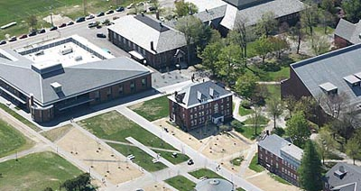 Old meets new as Roger Bill (center) and Hedge Hall (between the Bill and Dana Chemistry) welcome the new dining Commons (top left).