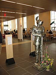 Dining Services' suit of armor greets arriving customers. (Doug Hubley/Bates College)