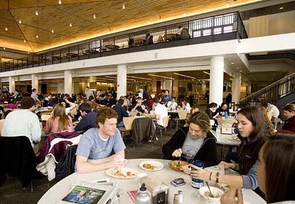Commons sense: Diners enjoy Bates' brand-new dining hall. (Phyllis Graber Jensen/Bates College)