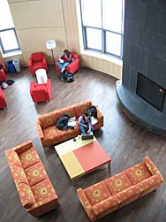 The Fireplace Lounge seen from the overlook. (Doug Hubley/Bates College)
