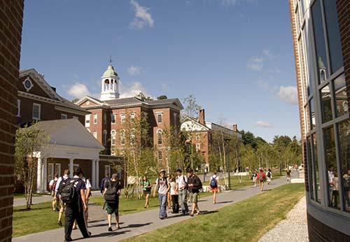 Students stroll along Alumni Walk during the fall 2008 semester at Bates.